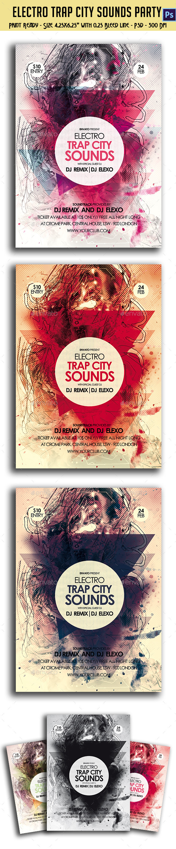 Electronic Trap City Sounds Party Flyer - Clubs & Parties Events