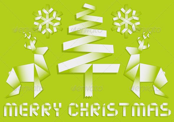 Origami Christmas Background - Christmas Seasons/Holidays