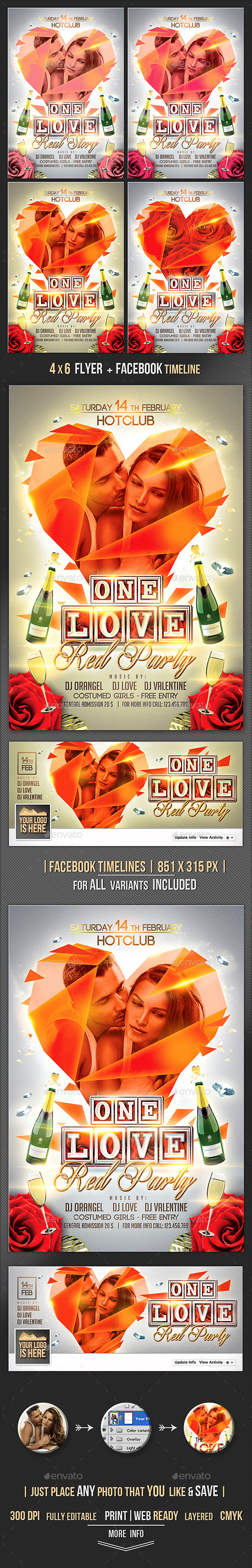 The Love Flyer + Fb Timeline Template - Clubs & Parties Events