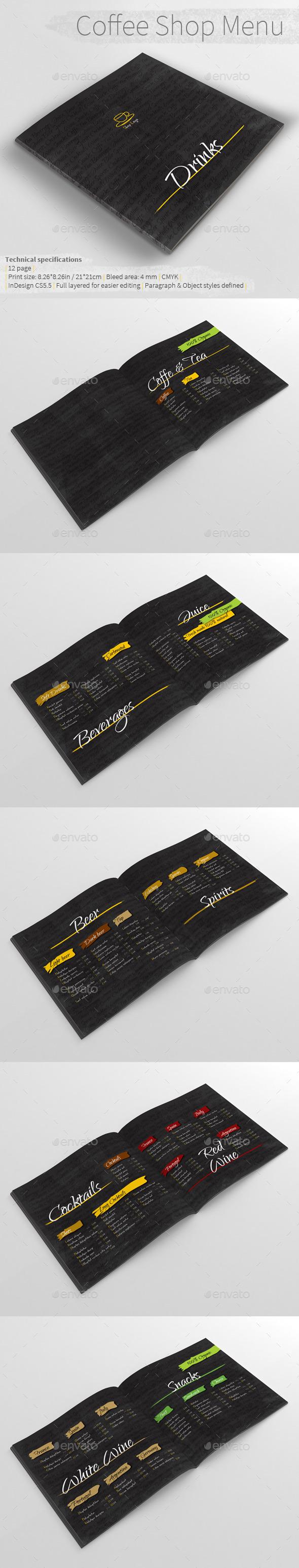 Coffee Shop Menu - Food Menus Print Templates