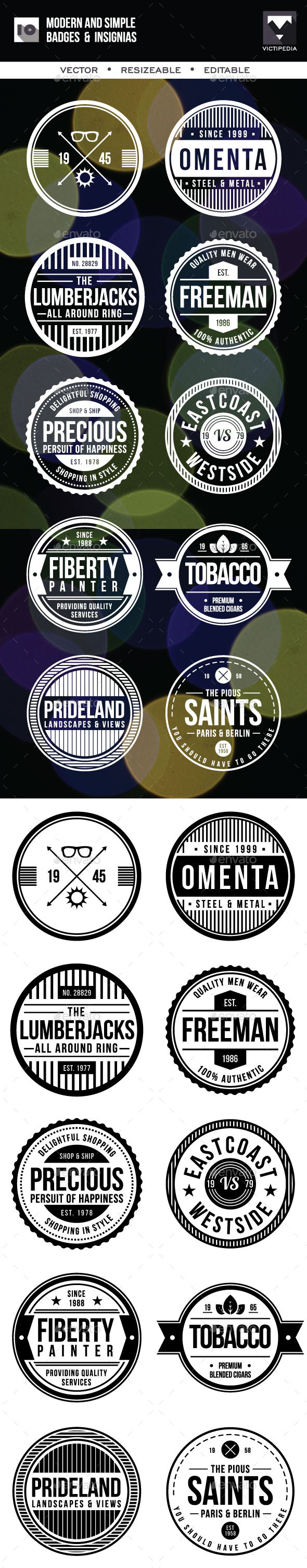 10 Modern And SImple Badges - Badges & Stickers Web Elements