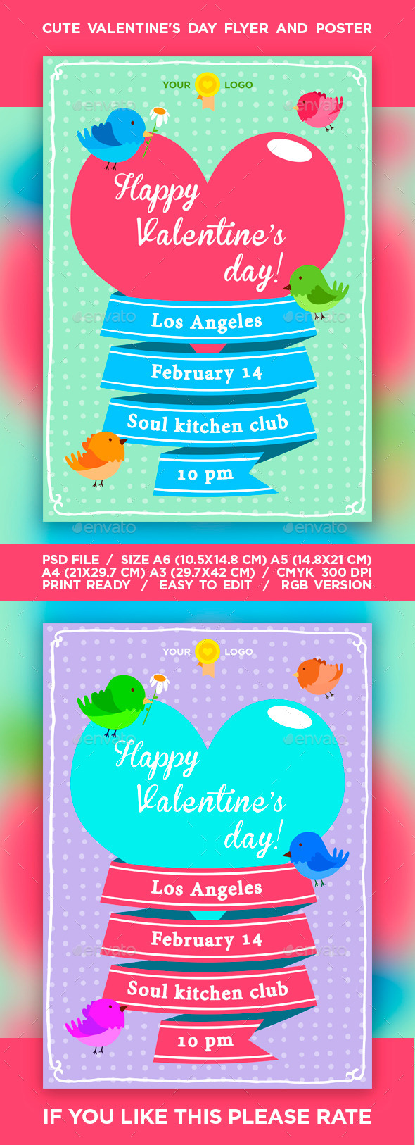 Cute Valentine's Day Flyer / Poster - Events Flyers