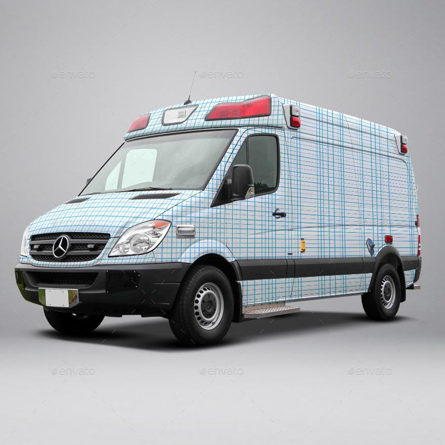 2014 Mercedes Sprinter Ambulance Wrap MockUp