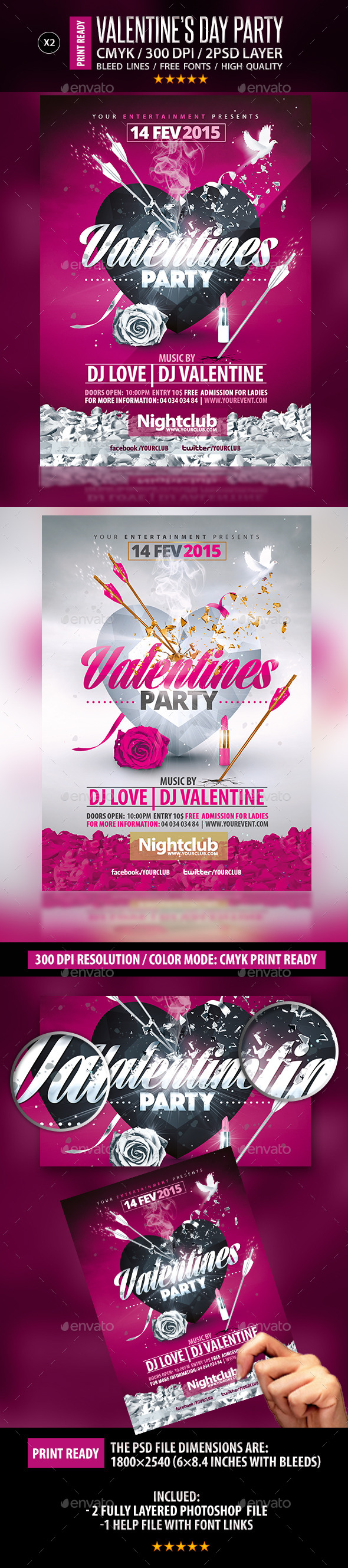Valentines Party Flyer Collection - Clubs & Parties Events