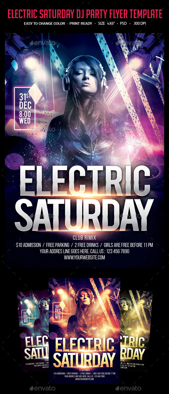 Electric Saturday Dj Party Flyer Template - Clubs & Parties Events