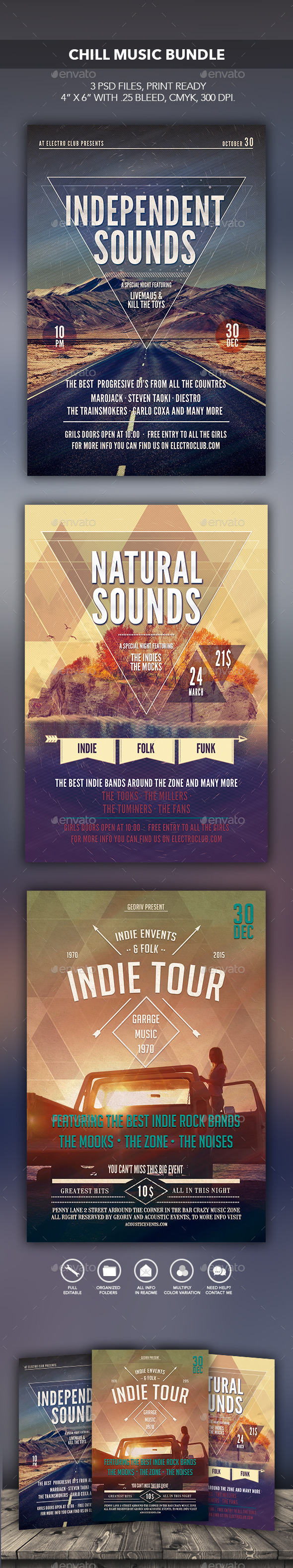 Chill Music Bundle - Flyers Print Templates