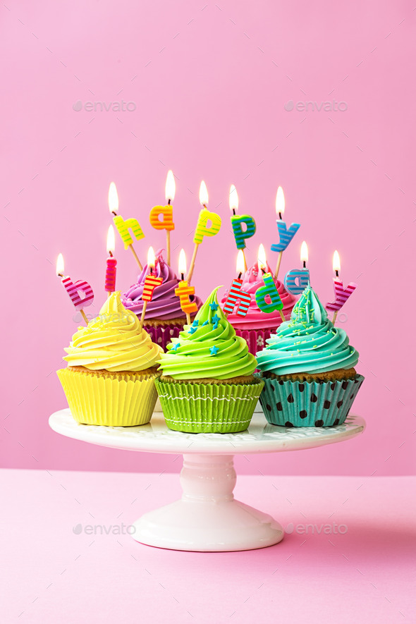 Pleasing Happy Birthday Cupcakes Stock Photo By Ruthblack Photodune Funny Birthday Cards Online Eattedamsfinfo