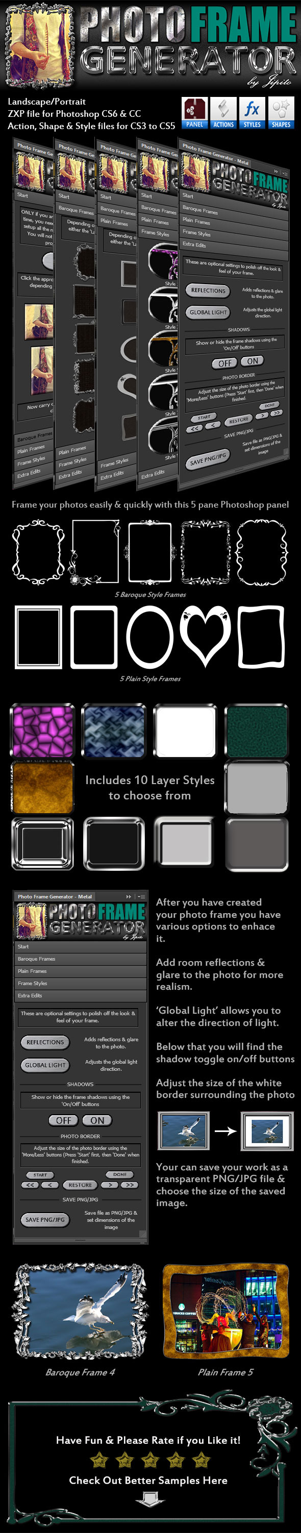 Photo Frame Generator Panel - Metal - Utilities Actions