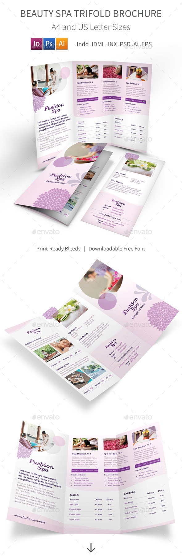 Beauty spa trifold brochure by mike pantone graphicriver for Adda beauty salon cartierul latin