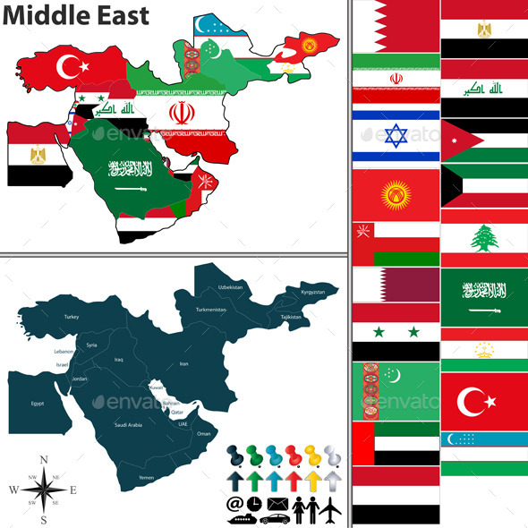 Political Map of Middle East - Travel Conceptual