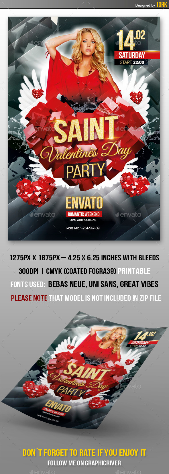 Valentines` Day Party - Flyers Print Templates