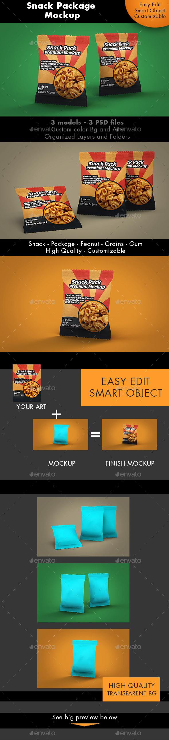 Snack Package Mockup Premium - Food and Drink Packaging