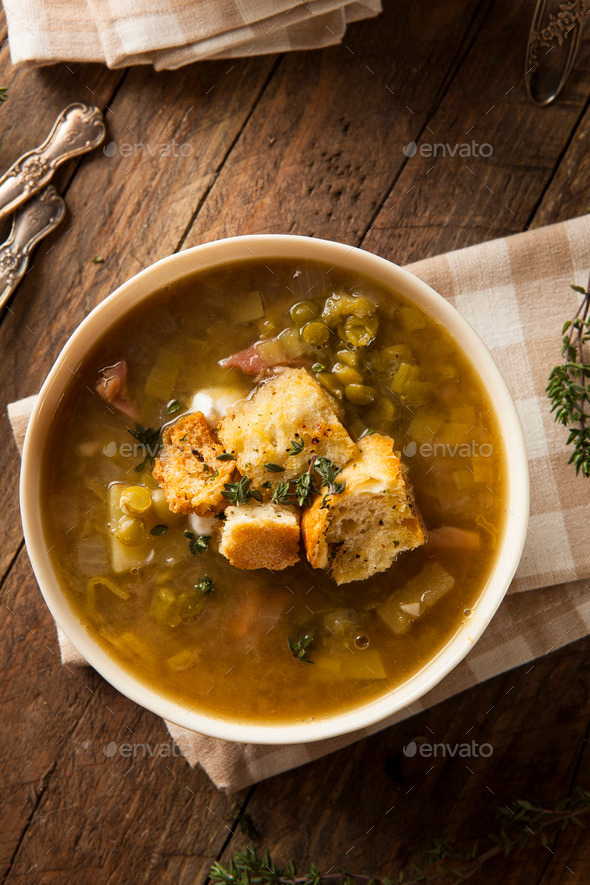 Homemade Split Pea Soup - Stock Photo - Images