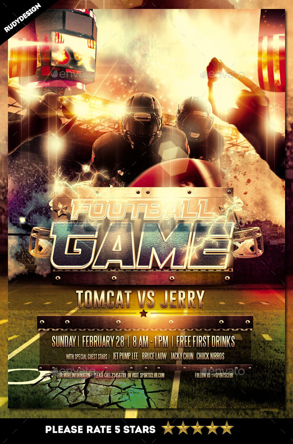 American Football Game Flyer Design - Sports Events