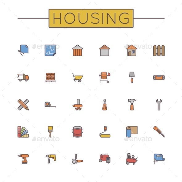 Vector Colored Housing Line Icons - Business Icons