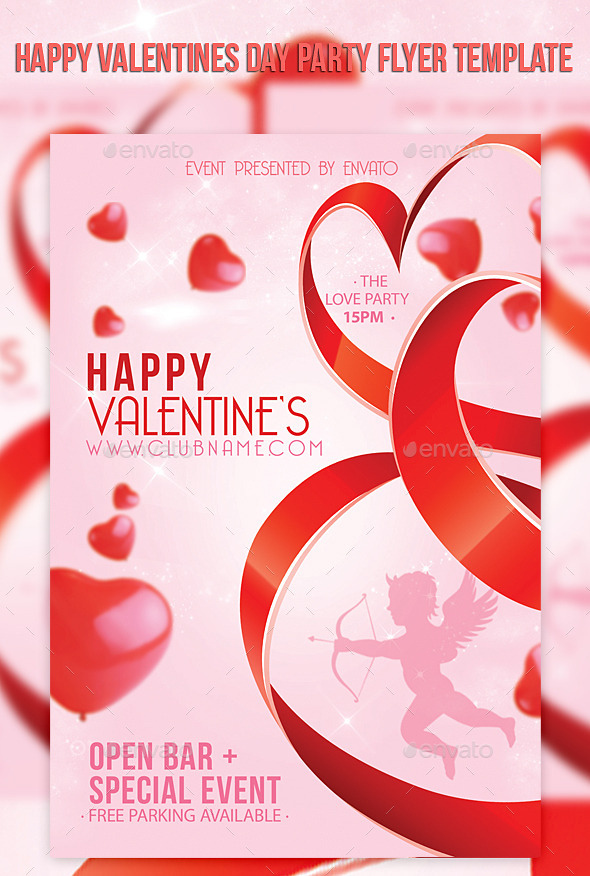 Happy Valentines Day Party Flyer Template - Events Flyers