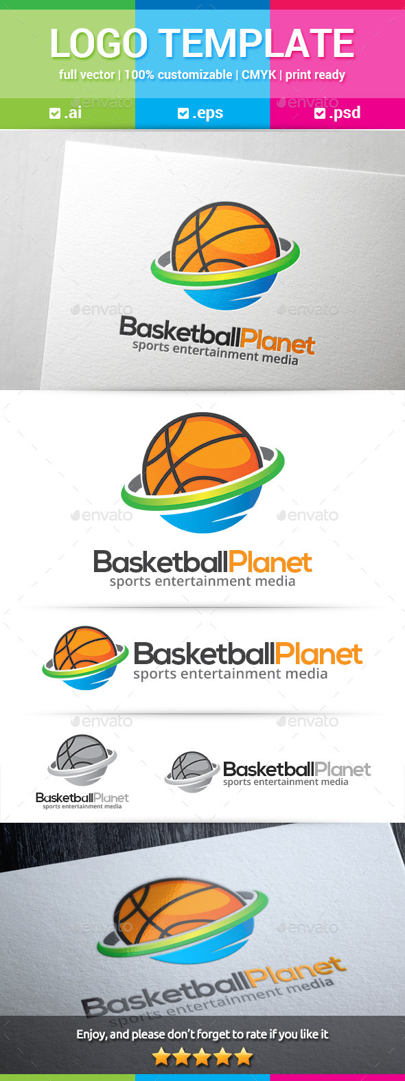 Basketball Planet Logo - Objects Logo Templates
