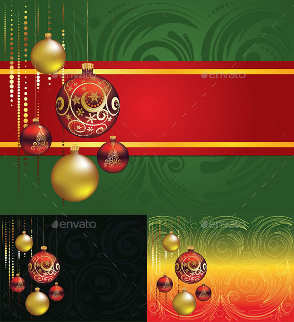 Red and Gold Christmas Balls - Christmas Seasons/Holidays