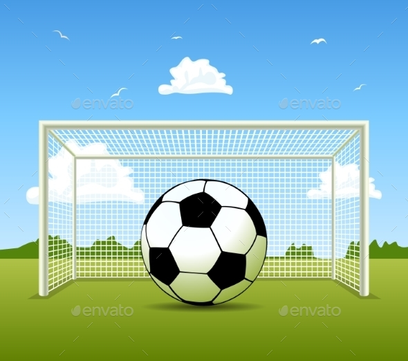 Soccer Ball on a Green Field - Sports/Activity Conceptual