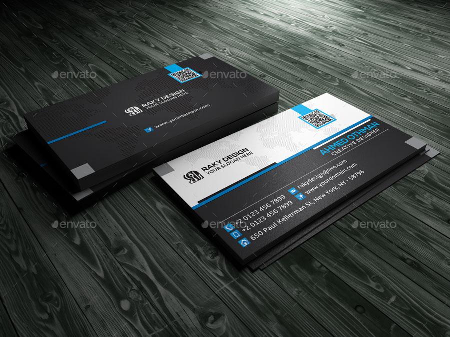 Blue Black Business Card by RakyDesign | GraphicRiver