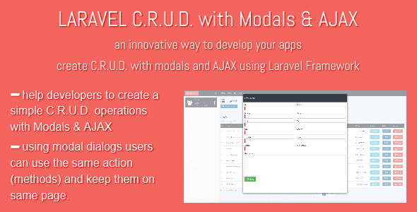 LARAVEL C.R.U.D. with Modals & AJAX - CodeCanyon Item for Sale