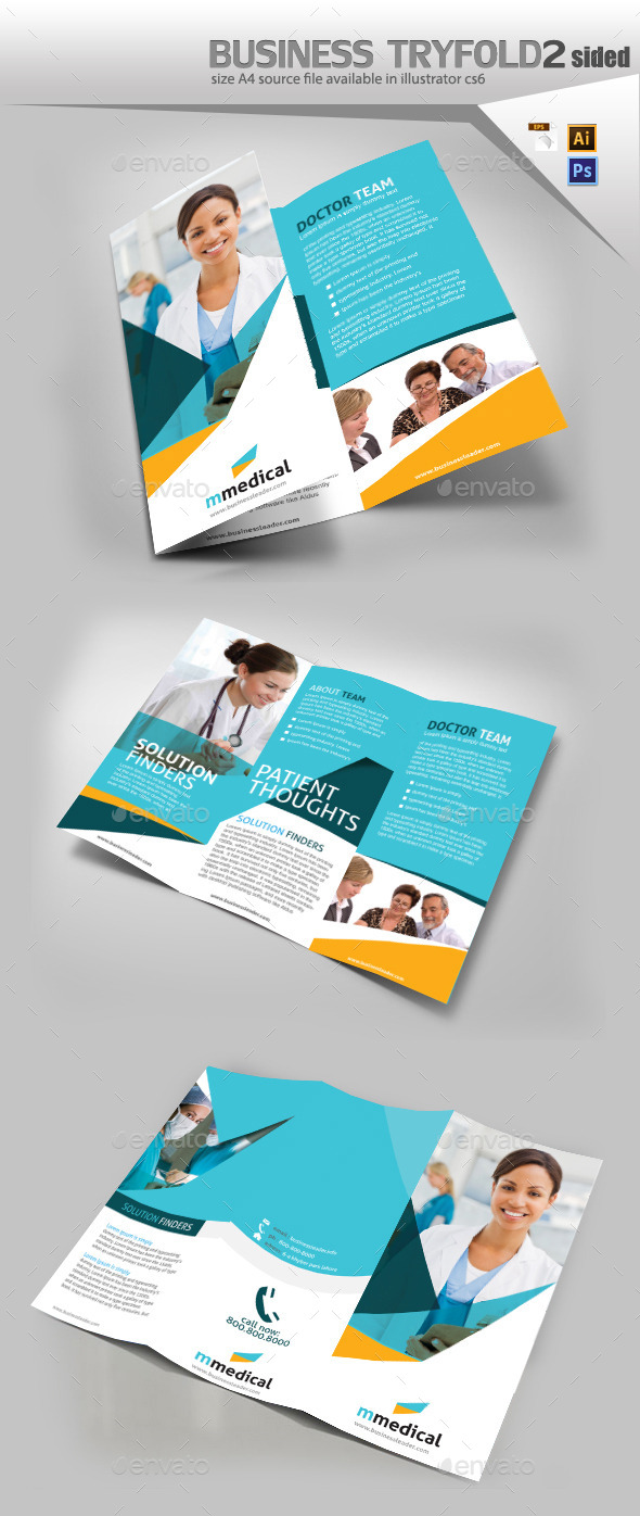 Medical Three Fold Pamphlet Design - Brochures Print Templates