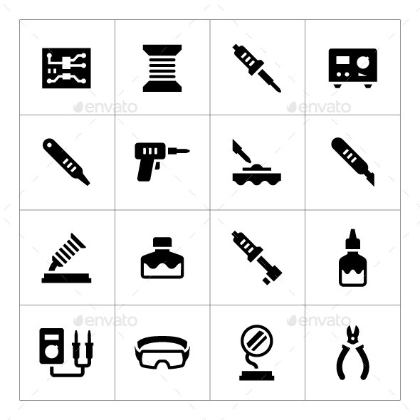 Set Icons of Soldering - Man-made objects Objects