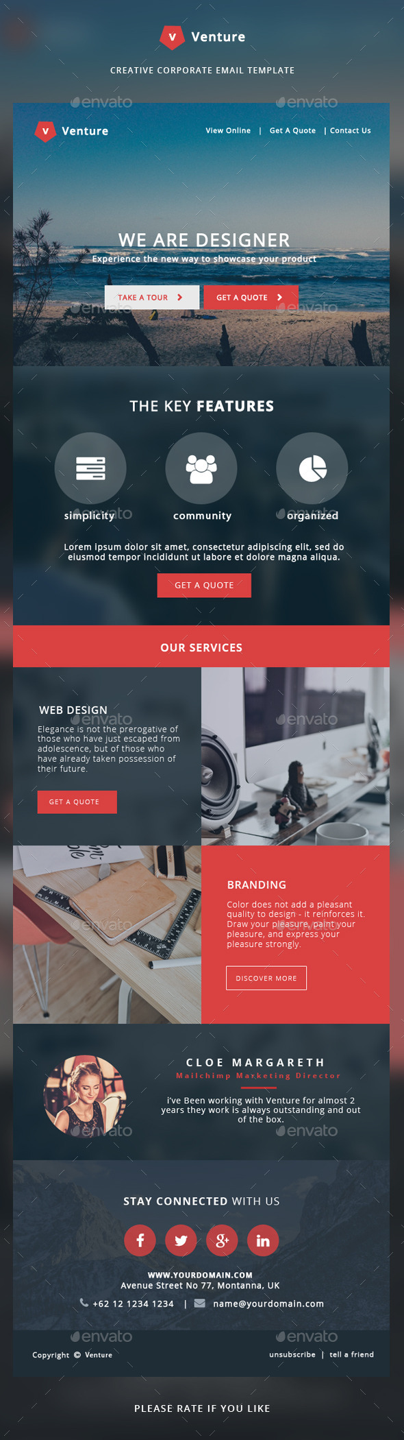 Corporate Email Template - Venture - E-newsletters Web Elements