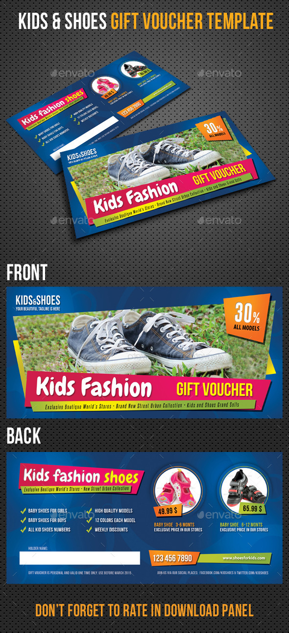 Kids and Shoes Gift Voucher V02 - Cards & Invites Print Templates