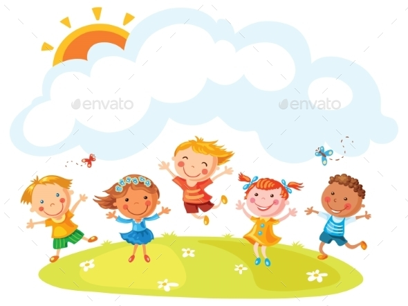 Happy Cartoon Kids Jumping - People Characters