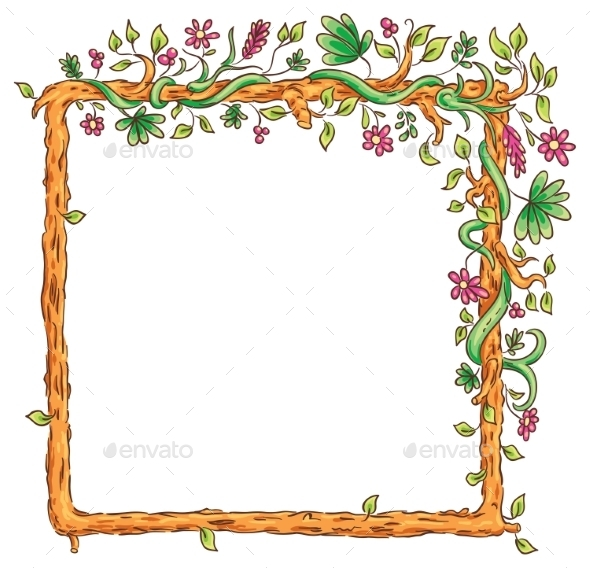Square Frame with Tropical Plants - Borders Decorative
