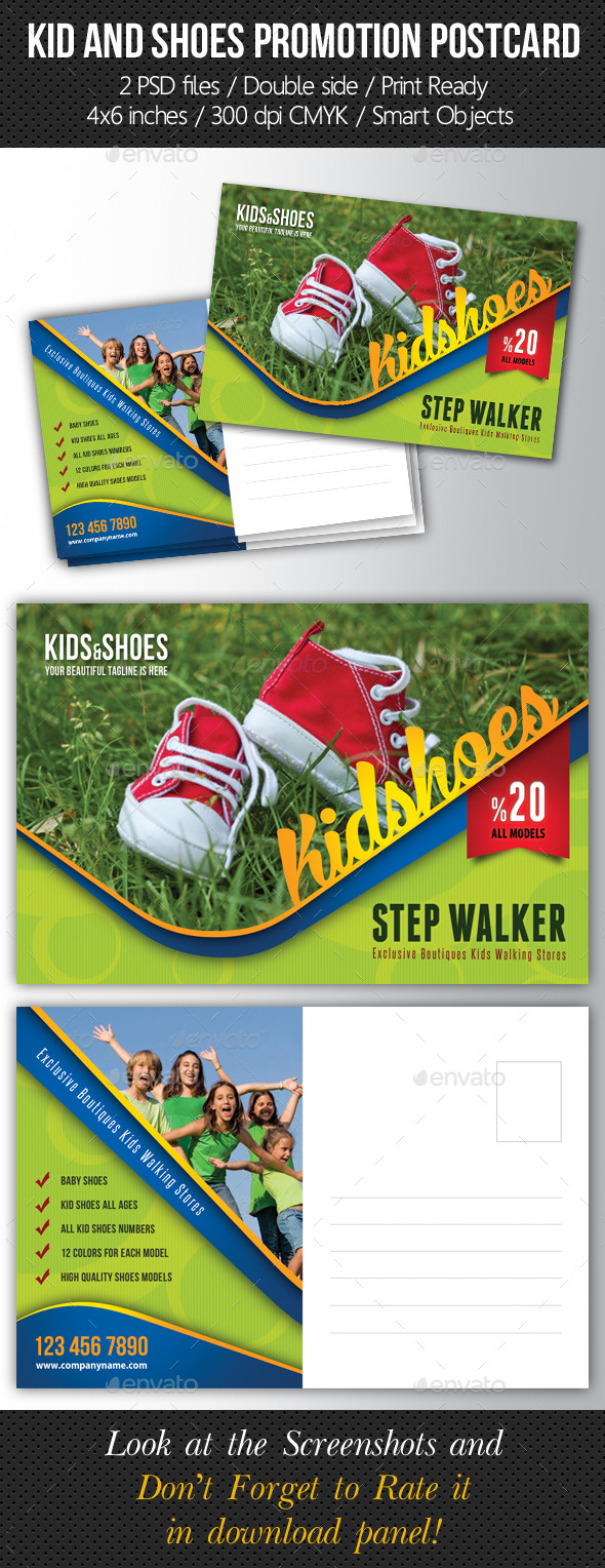 Kid And Shoes Postcard Template V02 - Cards & Invites Print Templates