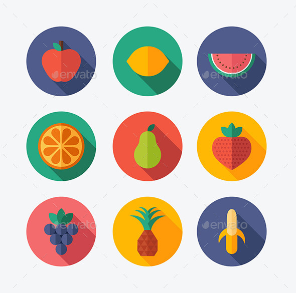 Fruit Flat Icons - Food Objects
