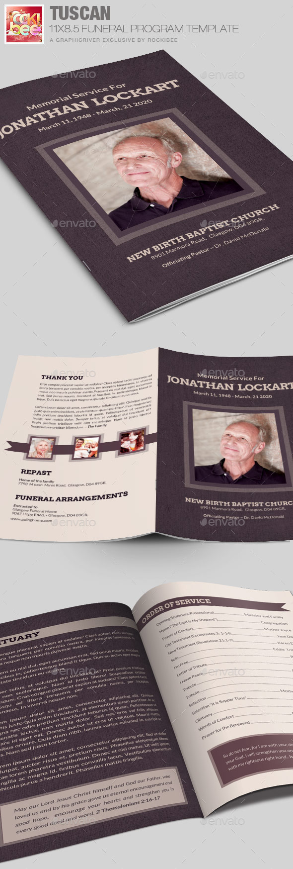 Tuscan Funeral Program Template - Informational Brochures