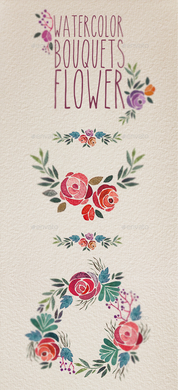 Watercolor bouquet flower - Patterns Decorative