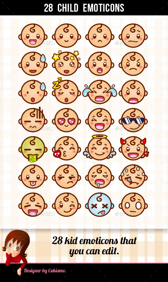 28 Child Emoticons - People Characters