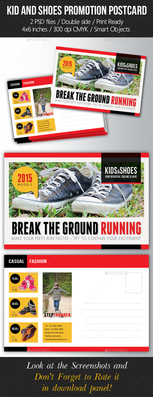 Kid And Shoes Postcard Template V03 - Cards & Invites Print Templates