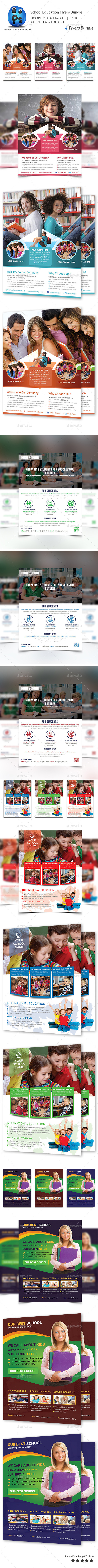 School Education 4 Flyers Bundle - Corporate Brochures
