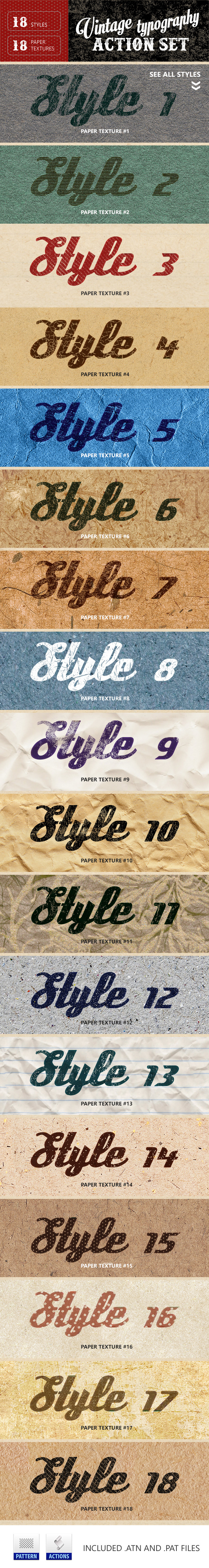 Vintage Typography Letterpress + Paper Textures - Text Effects Actions