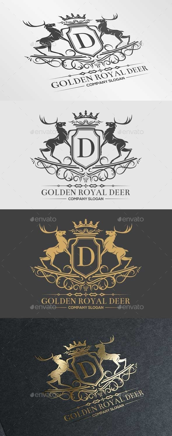 Golden Royal Deer - Crests Logo Templates