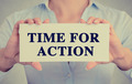 businesswoman hands holding card sign with time for action message - PhotoDune Item for Sale