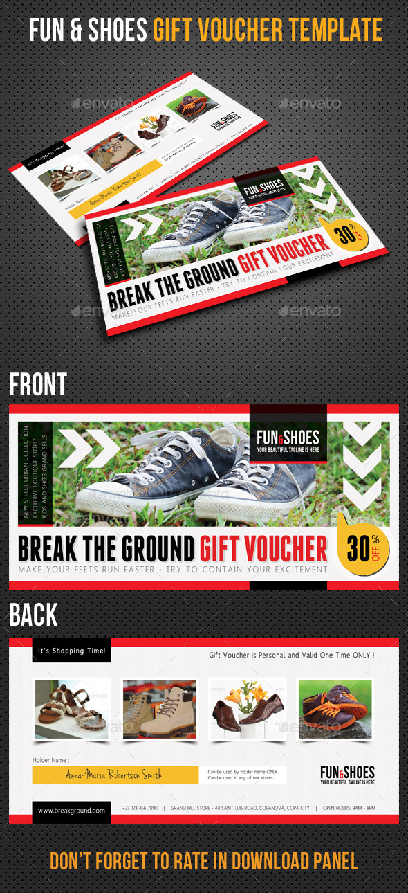 Fun and Shoes Gift Voucher V03 - Cards & Invites Print Templates