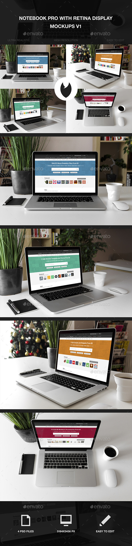 Notebook Pro with Retina Display Mockups V1 - Laptop Displays