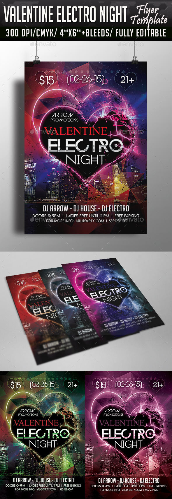Valentine Electro Night Flyer Template - Clubs & Parties Events