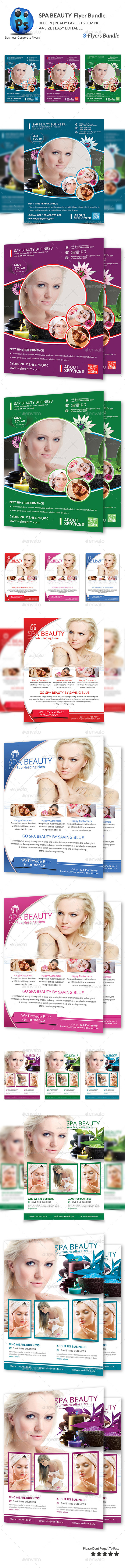 Spa & Beauty Fashion 3 Flyers Bundle - Corporate Flyers
