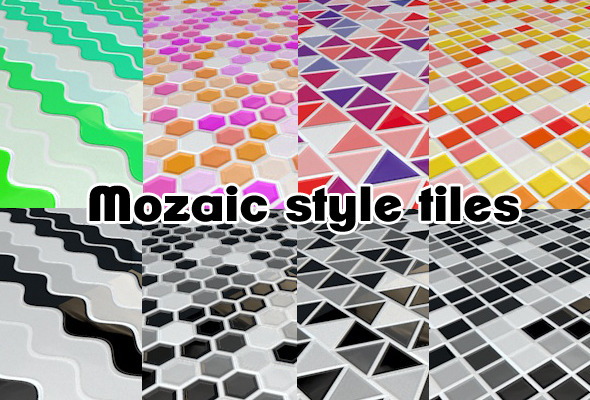 Mosaic style tiles Kitchen flooring (8 pack) C4D - 3DOcean Item for Sale
