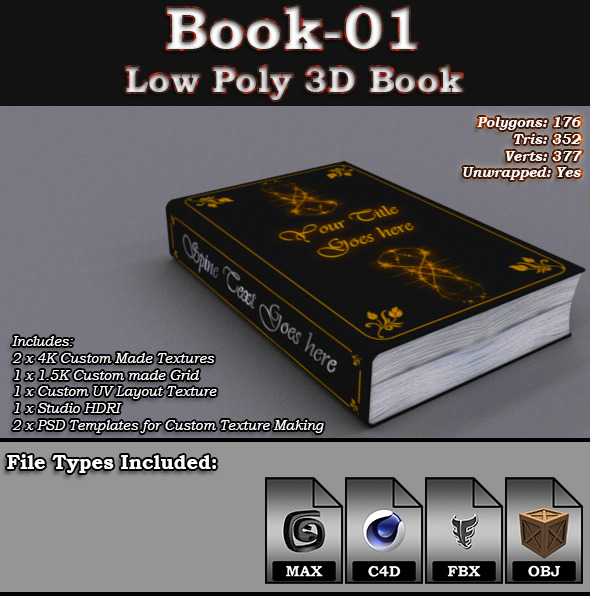Book-01 - Low Poly 3D Book - 3DOcean Item for Sale