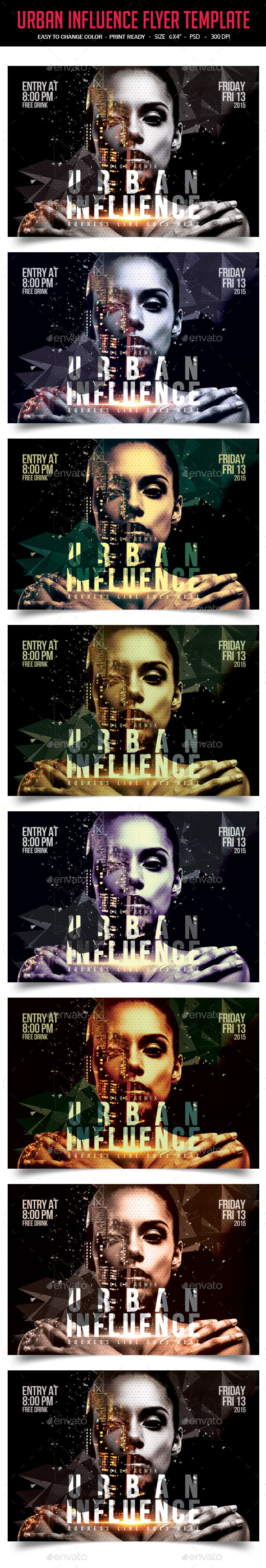 Urban Influence Party Flyer Template - Clubs & Parties Events