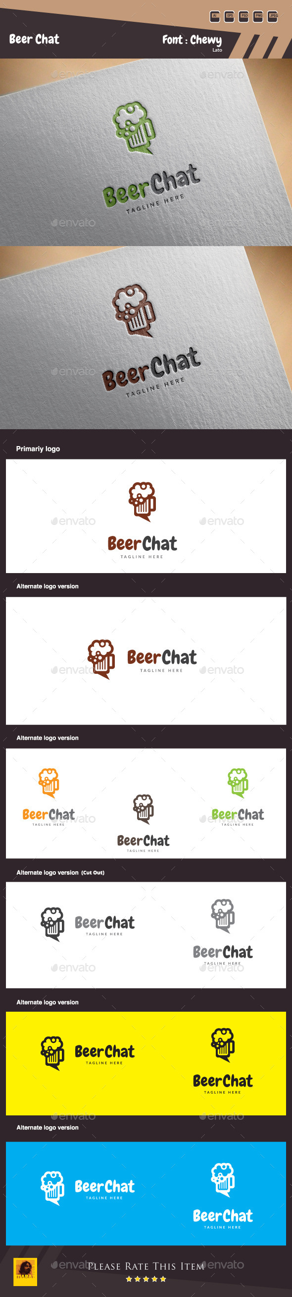 Beer Chat Logo Template - Food Logo Templates