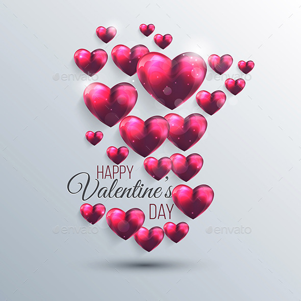 Abstract Background with a Pink Valentine Hearts - Valentines Seasons/Holidays